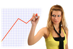 Donna e grafico di affari immagini stock