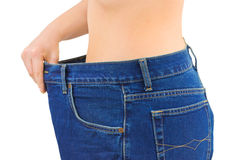 Donna e jeans - dimagrendo Fotografia Stock