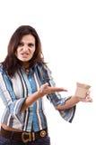 Donna e la piccola casella immagini stock libere da diritti