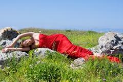 Donna e natura Fotografia Stock Libera da Diritti