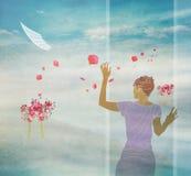 Donna e natura felici Immagini Stock Libere da Diritti