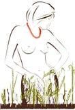 Donna e piante Immagini Stock
