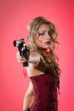 Donna e pistola Fotografie Stock Libere da Diritti