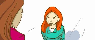 Donna e ragazza del fumetto che se esaminano Madre e figlia Fotografia Stock