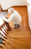 Donna e scale maggiori felici Immagine Stock