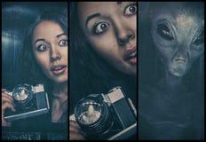 Donna e straniero fotografie stock