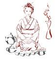 Donna e tè giapponesi fotografia stock libera da diritti