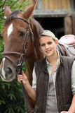 Donna e un cavallo Immagine Stock Libera da Diritti
