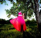 Donna e vestito da colore rosa Fotografia Stock Libera da Diritti