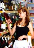 Donna e vino Fotografia Stock