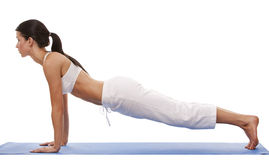 Donna e yoga Fotografie Stock