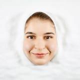Donna e zucchero bianco fotografie stock