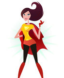 Donna eccellente dei capelli del Brown in costume rosso (supereroe) Immagine Stock