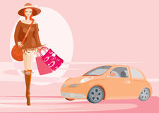 Donna ed automobile Fotografie Stock