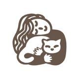 Donna ed il suo gatto Illustrazione di vettore Immagine Stock Libera da Diritti