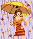 Donna ed ombrello di autunno Immagini Stock