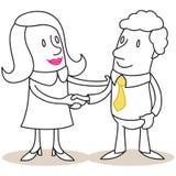 Donna ed uomo di affari che stringono le mani illustrazione di stock