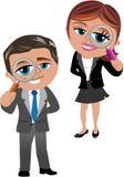 Donna ed uomo di affari con la lente d'ingrandimento Fotografia Stock Libera da Diritti
