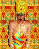 Donna egiziana della regina ornata con i gioielli dell'oro Fotografia Stock