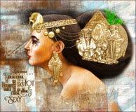 Donna egiziana, scena digitale di arte di bella fantasia con la piramide, sfinge, uraeus essudanti la bellezza, ricchezza ed unic Fotografia Stock Libera da Diritti
