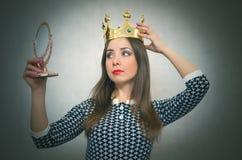 Donna egoista Persona egoistica Fotografia Stock