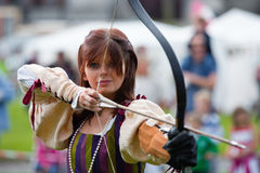 Donna from Eireann Edge displays Archery Royalty Free Stock Images