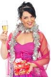 Donna elegante alla festa di Natale Fotografia Stock Libera da Diritti