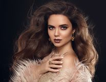 Donna elegante in cappotto di pelliccia Bella ragazza con la st lunga dei capelli ondulati fotografie stock