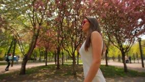 Donna elegante che indossa gli occhiali rosa che camminano al parco di estate del fiore video d archivio