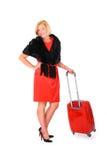 Donna elegante che va su un viaggio Fotografie Stock Libere da Diritti