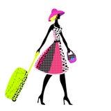Donna elegante con bagagli, illustrazione di vettore Fotografia Stock