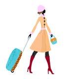 Donna elegante con bagagli, illustrazione di vettore Immagini Stock