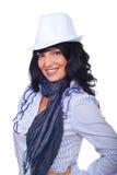 Donna elegante con il cappello bianco Fotografia Stock