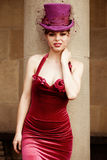 Donna elegante con il cilindro Immagini Stock Libere da Diritti