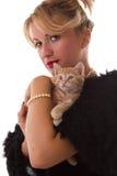 Donna elegante con il gatto Fotografia Stock