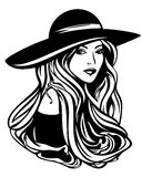 Donna elegante con il ritratto d'uso di vettore del cappello dei capelli lunghi Immagine Stock