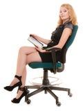 Donna elegante con il touchpad del computer del pc della compressa Fotografia Stock