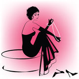 Donna elegante con le perle illustrazione vettoriale