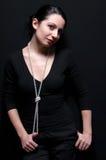 Donna elegante con le perle Immagine Stock