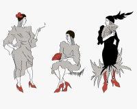 Donna elegante con un sigaro illustrazione di stock