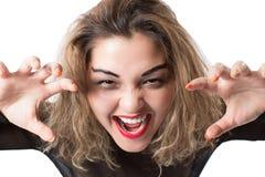 Donna emozionale che grida e che grida immagini stock