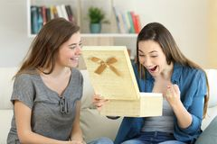 Donna emozionante che riceve un regalo da un amico Fotografie Stock