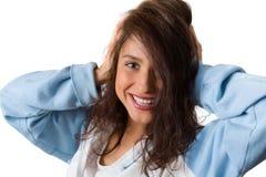 Donna emozionante e felice Fotografie Stock