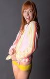 Donna emozionante e felice in camicia e mutandine Immagine Stock Libera da Diritti
