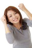 Donna emozionante felice fotografia stock