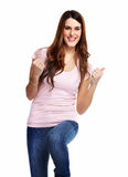 Donna emozionante felice. Fotografie Stock Libere da Diritti