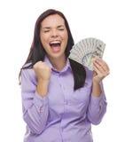 Donna estatica della corsa mista che tiene le banconote in dollari di nuovo cento Fotografia Stock
