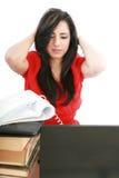 Donna faticosa di affari con l'emicrania Fotografie Stock