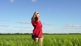 Donna felice che gode di bella bionda della natura che cammina sul campo Concetto di libertà video d archivio