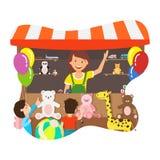 Donna felice che vende l'illustrazione piana di vettore dei giocattoli royalty illustrazione gratis